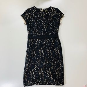 Taylor Black Lace Overlay Dress Cream Size 4